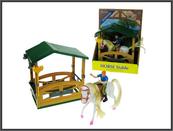Stajnia z koniem i jeźdźcem 18cm w pudełku
