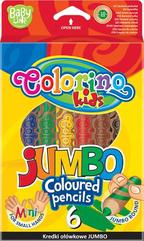 Kredki ołówkowe Jumbo 6 kol naturalne drewno + tem. Colorino Kids