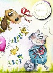 Karnet B6 z dowieszką - Pies i kot