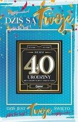 Karnet Urodziny 40 męskie + naklejka 2K - 009