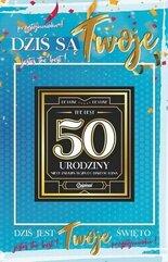 Karnet Urodziny 50 męskie + naklejka 2K - 010