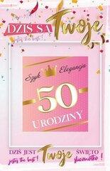 Karnet Urodziny 50 damskie + naklejka 2K - 004