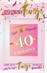 Karnet Urodziny 40 damskie + naklejka 2K - 003