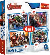 Puzzle 4w1 35,48,54,70el Odważni Avengersi. Avengers 34386 Trefl p8
