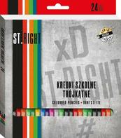 Kredki 24 kolory 18cm trójkątne ST.RIGHT w pudełku MAJEWSKI