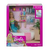 Barbie Zestaw Relaks w kąpieli Lalka z pieskiem + akcesoria GJN32 MATTEL