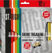 Kredki bambino 12 kolorów trójkątne w oprawie drewnianej + temperówka ST.RIGHT MAJEWSKI