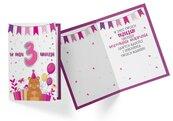 Karnet PR-321 Urodziny 3 dziewczynka