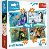 Puzzle 4w1 Tajemniczy świat zwierząt TREFL