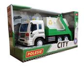 """Polesie 86198 """"City"""" samochód inercyjny do przewozu kontenerów zielony (ze światłem i dźwiękiem) w pudełku"""