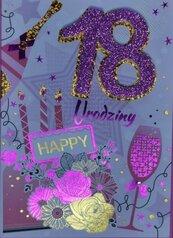 Karnet Przestrzenny B6 Urodziny 18 tort