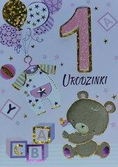 Karnet Przestrzenny B6 Roczek dziewczynka miś