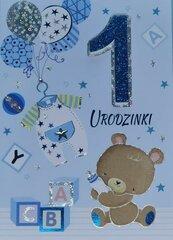 Karnet Przestrzenny B6 Roczek chłopiec miś