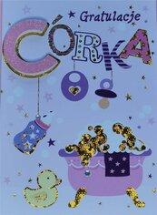 Karnet Przestrzenny B6 Narodziny dziewczynka wózek