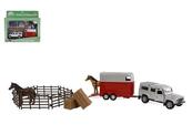 Auto Landrover z przyczepa i koniem + akcesoria 26cm HIPO