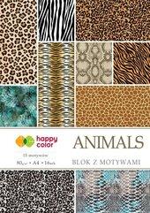 Blok z motywami Animals A4/16K 100g HAPPY COLOR