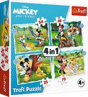 Puzzle 4w1 Fajny dzień Mickiego / Disney Standard Characters 34604 Trefl