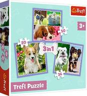 Puzzle 3w1 Urocze pieski 34854 Trefl