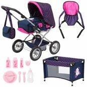 Mega Zestaw Bayer Wózek dla lalek Combi Grande granatowo różowy + łóżeczko + nosidełko + akcesoria