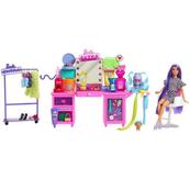 Barbie Extra Toaletka zestaw + lalka GYJ70 MATTEL