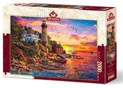 Puzzle 2000 Latarnia z zachodem słońca w tle