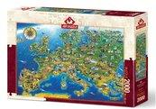 Puzzle 2000 Mapa z zabytkami Europy