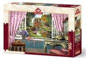 Puzzle 1500 Okno z widokiem na piękną chatkę