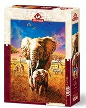 Puzzle 1000 Afryka, Rodzina słoni