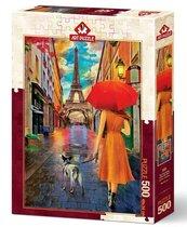 Puzzle 500 Romantyczny spacer ulicą Paryża