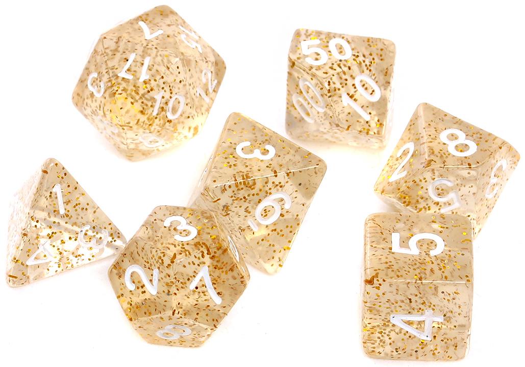 Komplet kości REBEL RPG - Brokatowe - Żółte