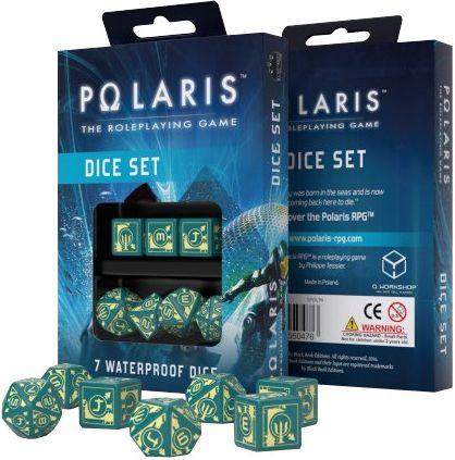 Komplet kości Polaris RPG Turkusowo-jasnożółte