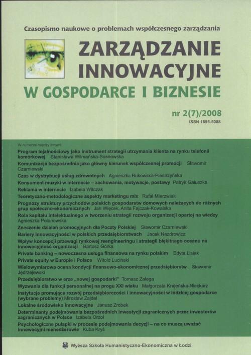 Zarządzanie innowacyjne w gospodarce i biznesie nr2/2008