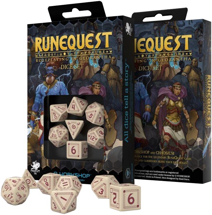 Komplet kości RuneQuest RPG Beżowo-bordowe