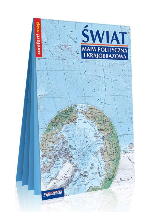 Świat Mapa polityczna i krajobrazowa laminowana mapa w formacie XXL 1:31 000 000