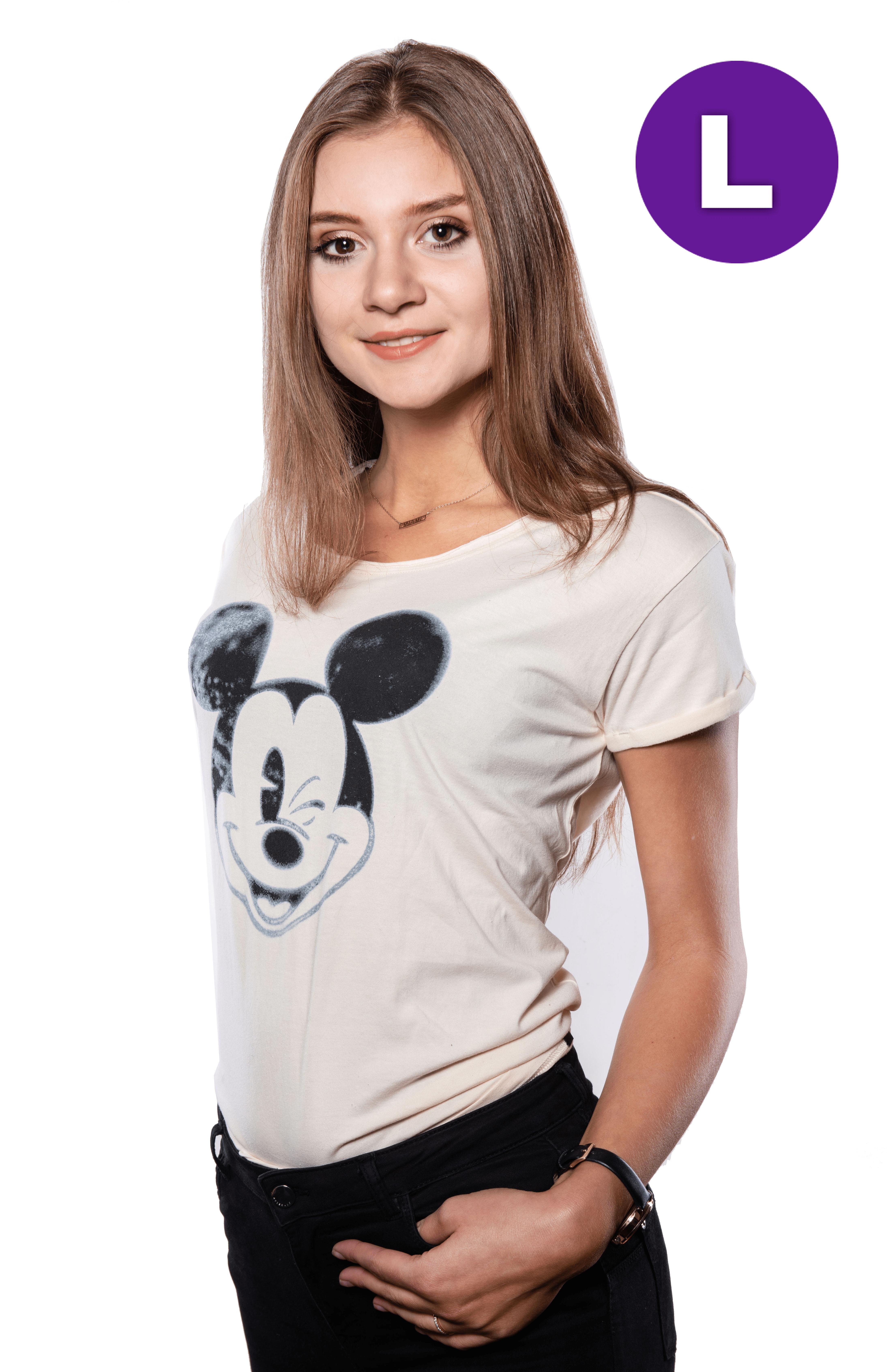 Disney Mickey Blinking Ladies T-shirt L + kubek Space Invaders