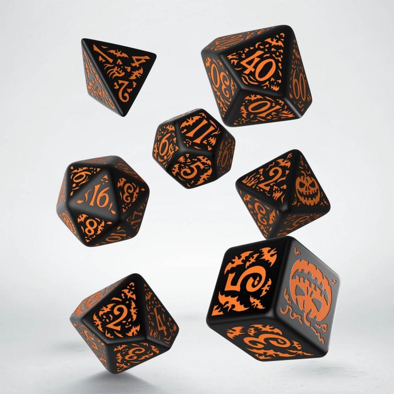 Komplet kości - Halloweenowych Huncwotów - Czarno-pomarańczowy