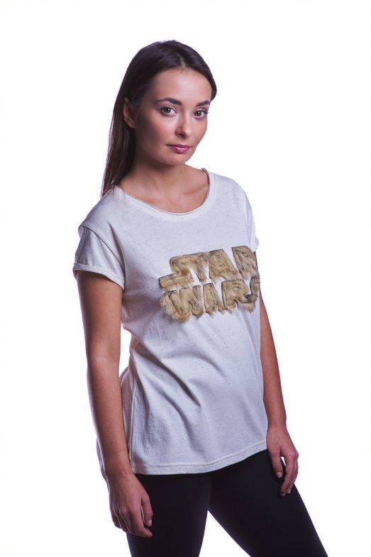 Star Wars Fuzzy Logo Ladies T-shirt XS