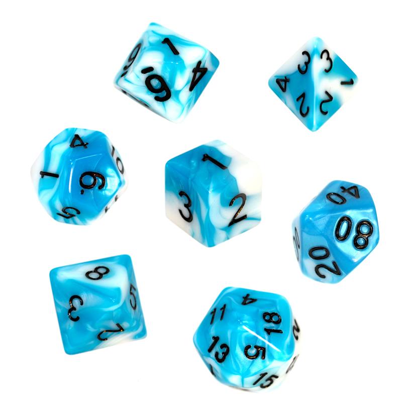 Komplet kości REBEL RPG - Dwukolorowe - Błękitno-białe