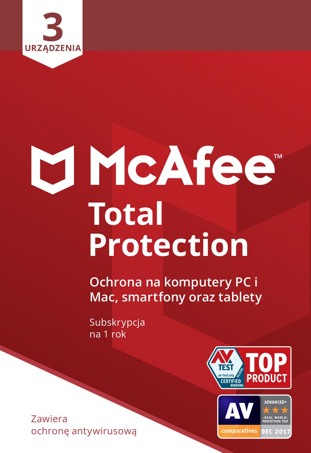 Program Antywirusowy McAfee Total Protection (3 urządzenia)
