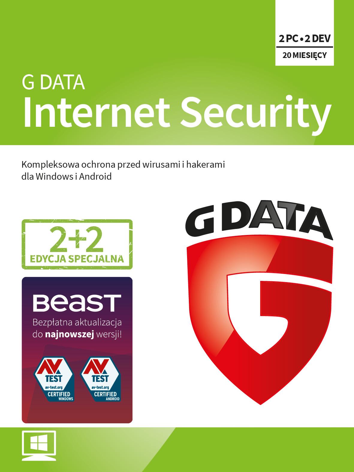 Program Antywirusowy G DATA Internet Security 20 miesięcy (4 użytkowników)