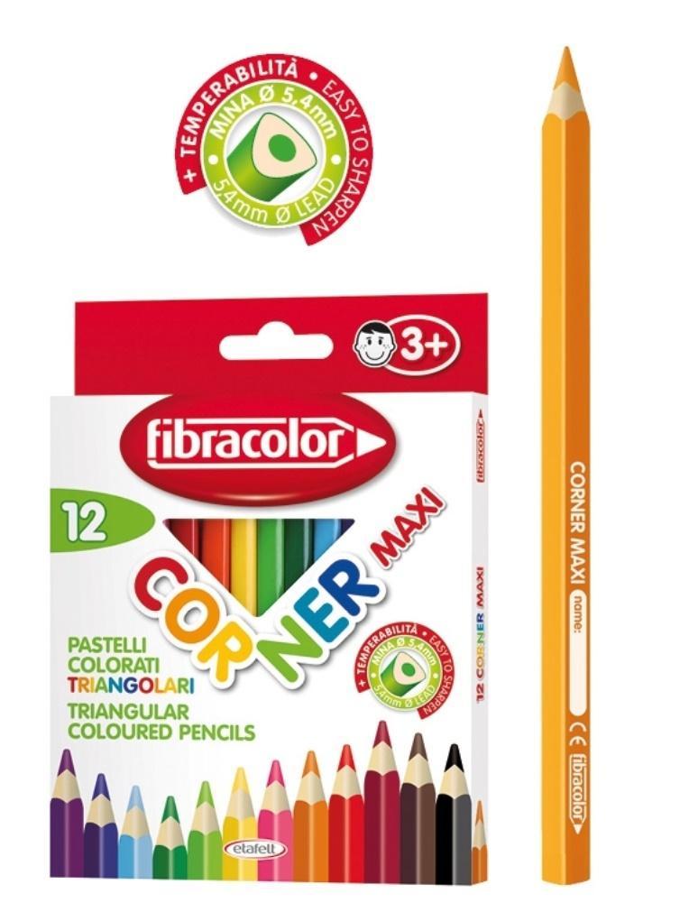 Kredki Corner Maxi 12 kolorów FIBRACOLOR
