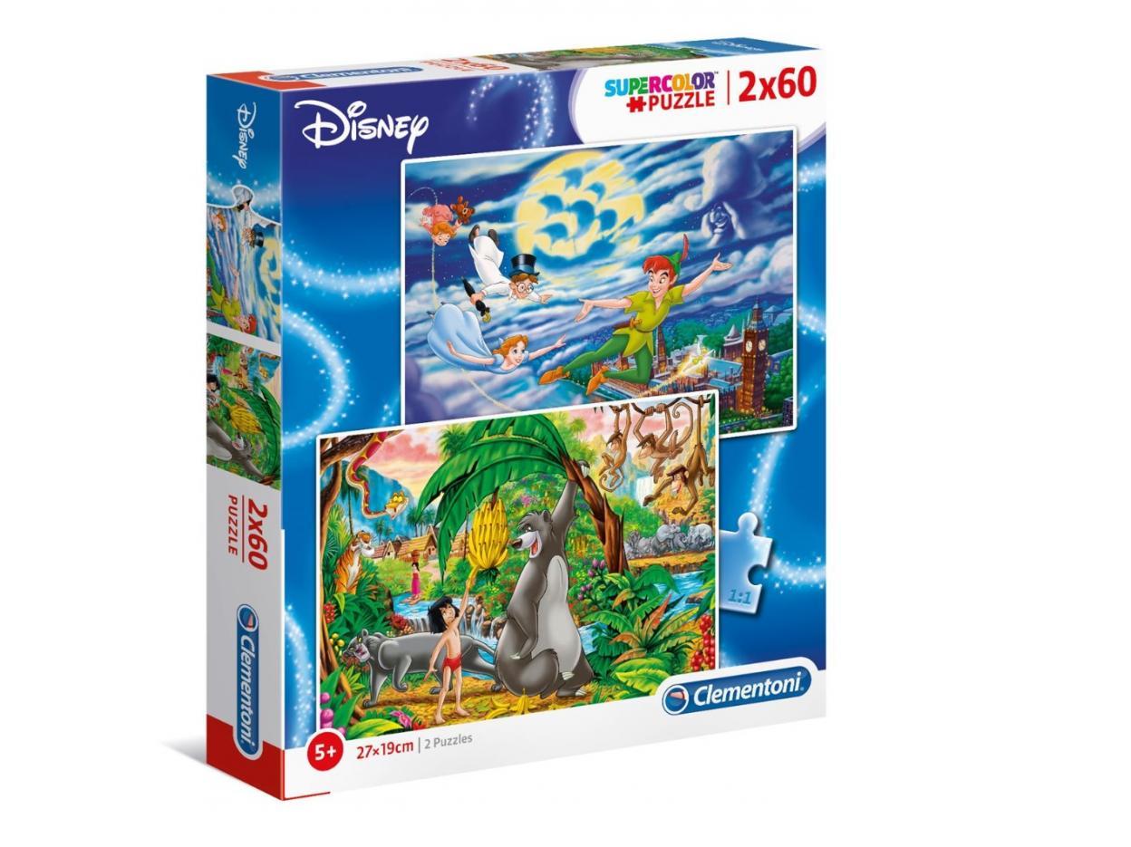 Puzzle 2x60 Super Kolor Peter Pan + Jungle Book