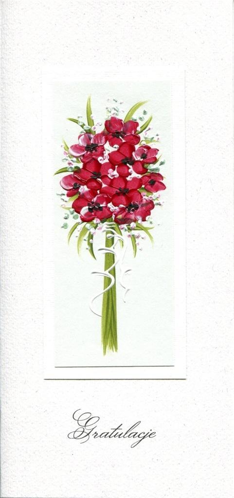 Karnet Gratulacje DL G02 - Czerwony bukiet