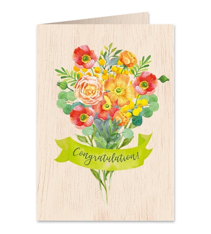 Karnet drewniany C6 + koperta Gratulacje