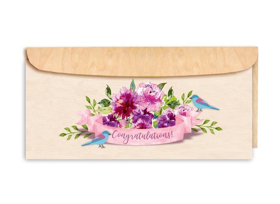 Karnet drewniany DL z drewnianą kopertą Gratulacje
