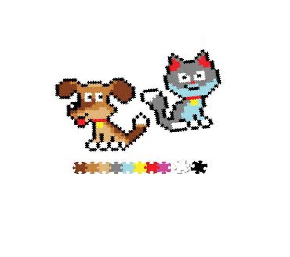 Puzzle 700 Pixelki Jixelz Kot i pies