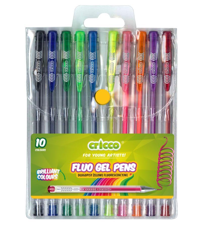 Długopisy żelowe fluorescencyjne 10 kolorów CRICCO