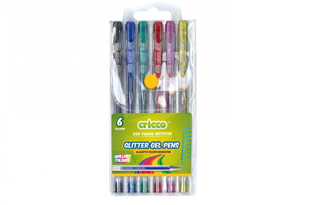 Długopisy żelowe brokatowe 6 kolorów CRICCO
