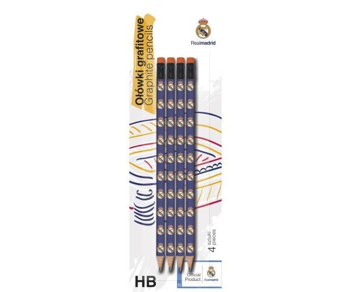 Ołówek trójkątny z gumką HB RM 4szt. ASTRA