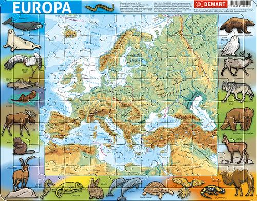 Puzzle ramkowe - Europa fizyczna